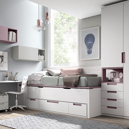 Dormitorio juvenil con Cama Compacto, Camas Cubo, Camas Nido. Armarios 1, 2, 3, 4 y 5 Puertas. Mesa Escritorio a Medida. De Glicerio Chaves