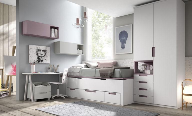 Dormitorio juvenil cama compacta con 3 cajones. De Glicerio Chaves.