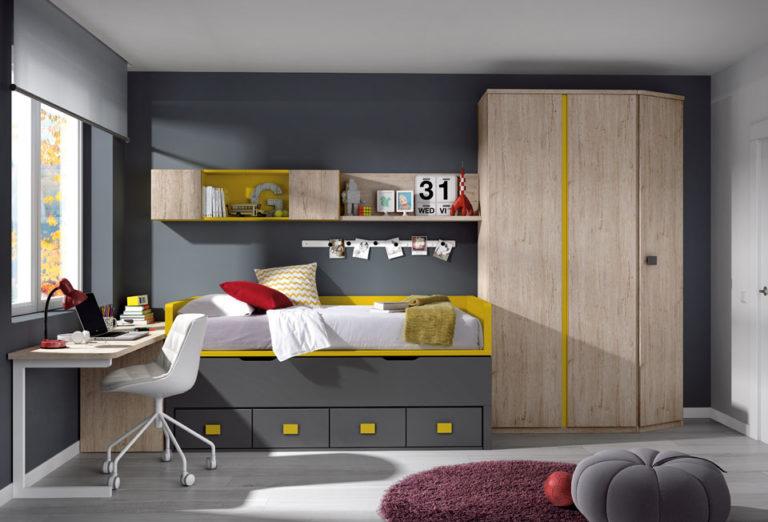 Bi-cama compacta con 4 Cajones. De Glicerio Chaves.