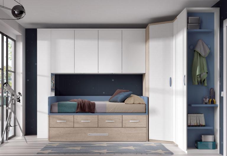 Cama compacta y armario con altillo. De Glicerio Chaves.