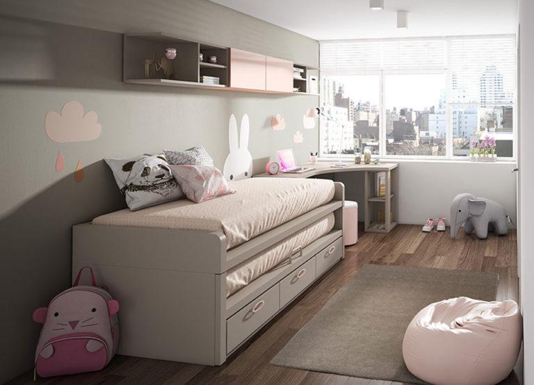 Bi-cama 2 colchones iguales y 3 cajones. De Lan Mobel
