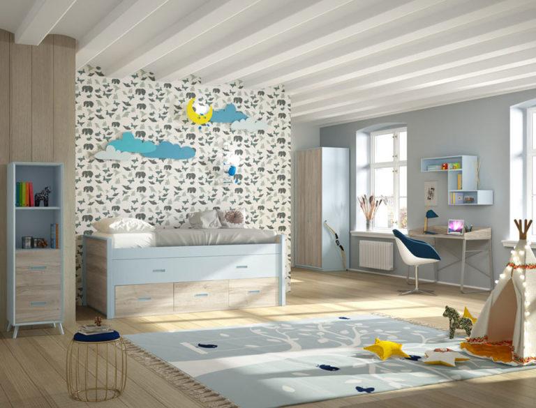 Dormitorio juvenil en laca y laminado. De Mobilsa