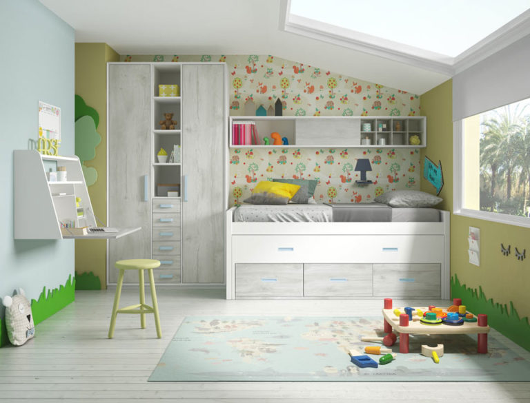 Juvenil cama compacta y armario. De Mobilsa