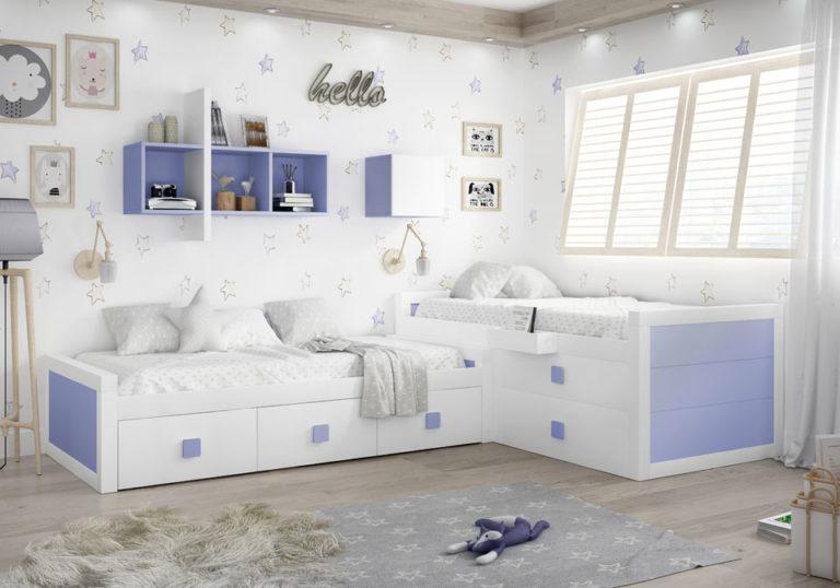Dormitorio juvenil en L con camas nido. De Piñero y Cabrero