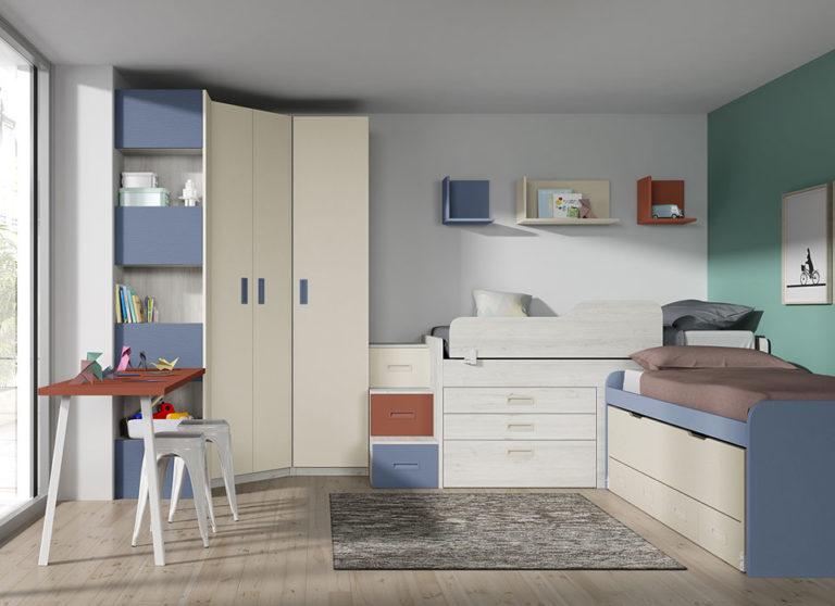 Dormitorio juvenil en L con camas compactas. De Magina