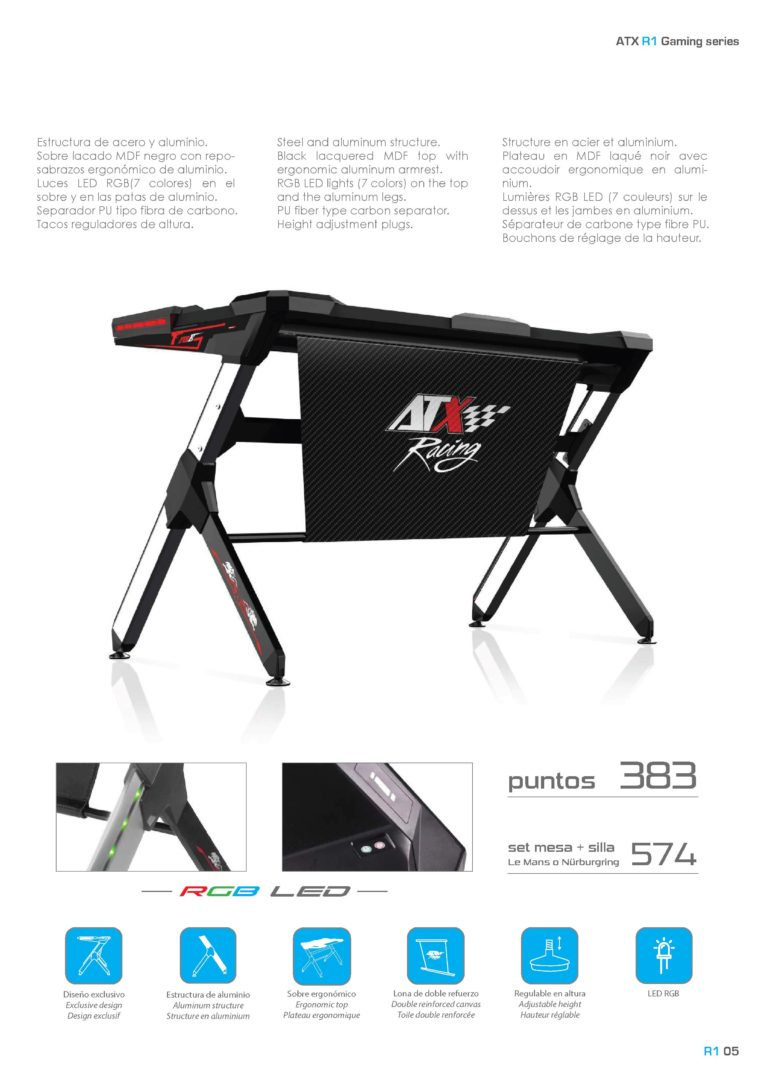 Gaming table. Mesa juegos ordenador. ATX Racing R1
