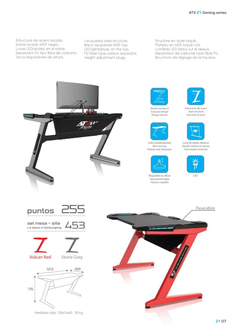 Gaming table. Mesa juegos ordenador. ATX Racing Z1