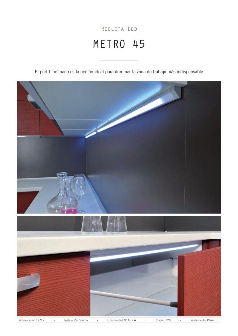 Sistema de luz para muebles de cocina con perfil de led a 45º