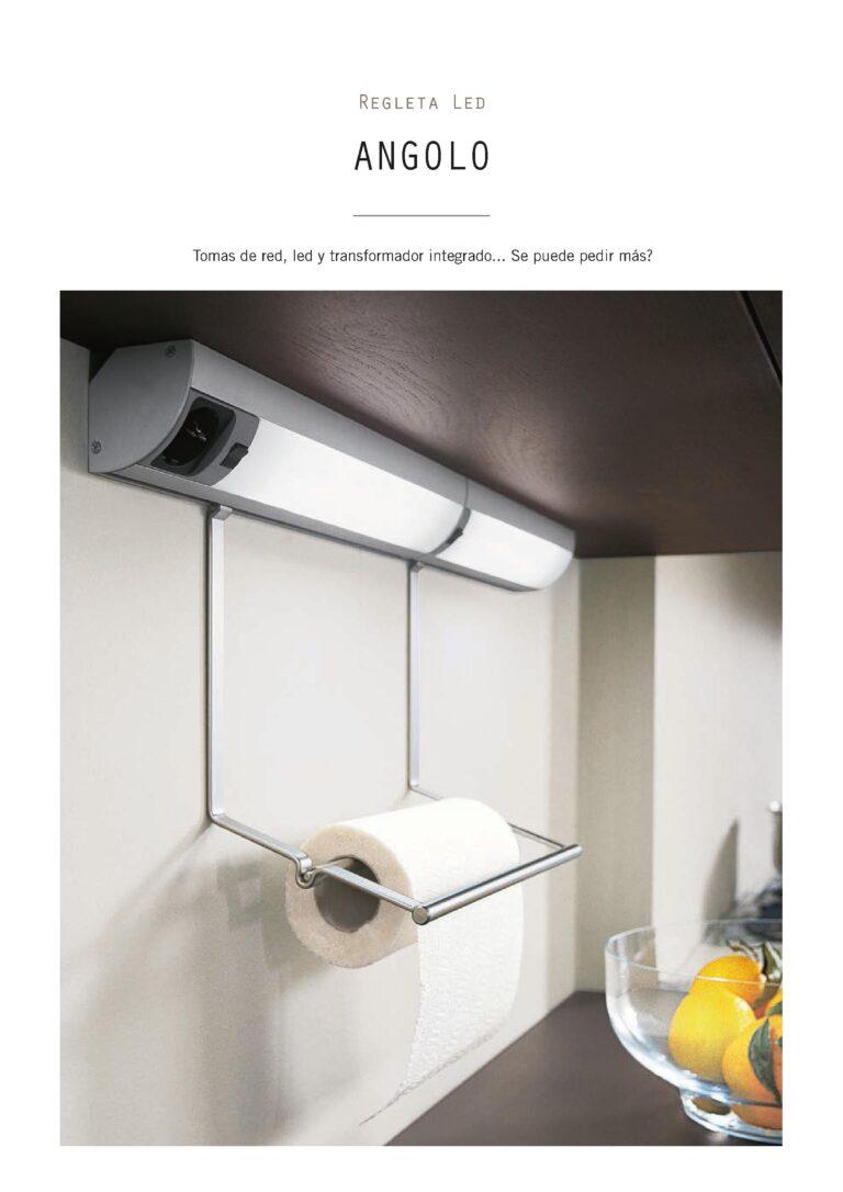 Sistema de luz para muebles de cocina con toma de red, led y transformador integrado